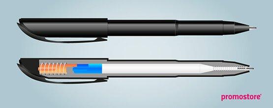 Aufbau eines Kugelschreibers