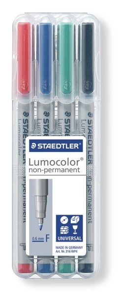 STAEDTLER Box mit 4 Lumocolor non-permanent F