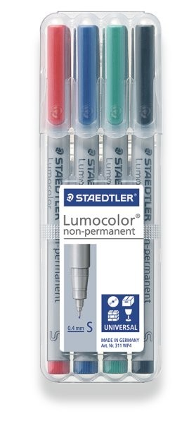 STAEDTLER Box mit 4 Lumocolor non-permanent S