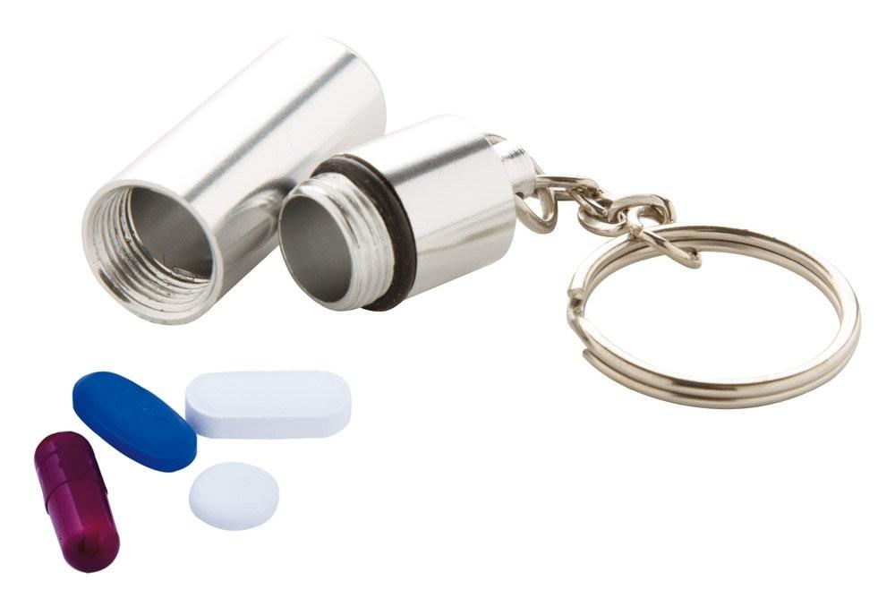 Schlüsselanhänger mit Pillenbox Alumpill