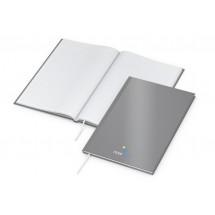 Memo-Book A5 Cover-Star matt-silber, Siebdruck-Digital x.press