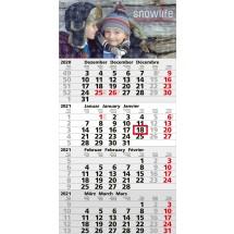 Einblatt-Monatskalender Mega 4 A/Mega 4 Post A Complete - hellgrau