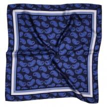 Nickituch, Reine Seide, Twill, bedruckt, ca. 53x53cm - blau