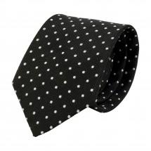 Krawatte, Reine Seide, jacquardgewebt - schwarz
