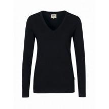 Damen-V-Pullover Merino Wool-schwarz