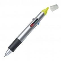 4-Farb-Kugelschreiber mit Textmarker - grau