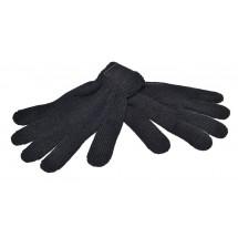 Strickhandschuhe Retrolook mit Label - schwarz