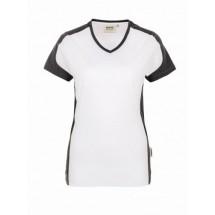 Damen-V-Shirt Contrast Performance-weiß/anthrazit
