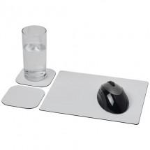 Brite-Mat® Mousepad- und Untersetzer-Set 3- schwarz