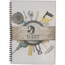 Desk-Mate® A4 Notizbuch mit Kunststoff Cover und Spiralbindung- weiss/schwarz