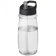 H2O Pulse 600 ml Sportflasche mit Ausgussdeckel - transparent/schwarz