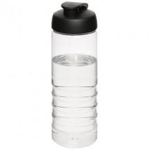 H2O Treble 750 ml Sportflasche mit Klappdeckel- transparent/schwarz