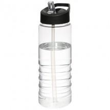 H2O Treble 750 ml Sportflasche mit Ausgussdeckel- transparent/schwarz
