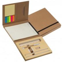 Schreibmappe mit Pappeinband, Lineal, Schreibblock und Haftmarkern - braun