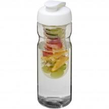 H2O Base® 650 ml Sportflasche mit Klappdeckel und Infusor - transparent/weiss