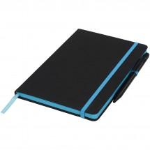 A5 schwarzes Notizbuch mit farbigem Rand - schwarz/blau