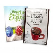 Geschenkartikel: Tassenkuchen Schokolade (Backmischung 70 g), auch in individueller Stecktasche