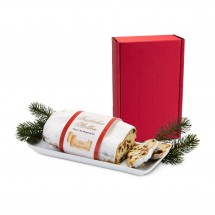 Geschenkset: Christstollen im roten Geschenkkarton