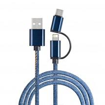3-in-1 Ladekabel REEVES-DENIM BLUE - blau