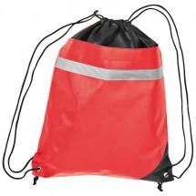 Non-Woven Gym-Bag mit reflektierendem Streifen - rot