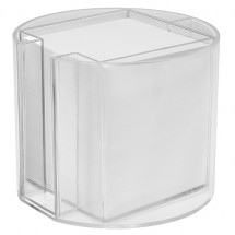 Zettelbox mit Köcher, rund - glasklar
