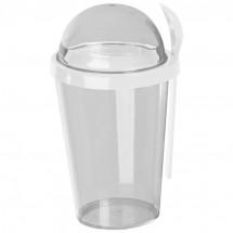 Joghurtbecher aus Kunststoff mit Löffel - weiss