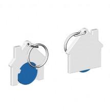 Chiphalter mit 1 Euro-Chip Haus m. Schlüsselring - blau/weiß