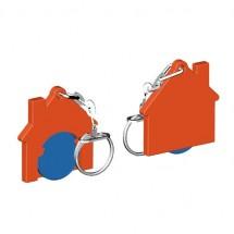 Chiphalter mit 1 Euro-Chip Haus m. Gliederkette - blau/orange