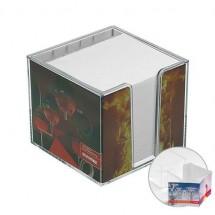 Zettelbox, doppelwandig mit Köcher u. Papier - glasklar