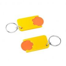 Chiphalter mit 1 Euro-Chip mit Schlüsselring - orange/gelb