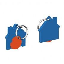 Chiphalter mit 1 Euro-Chip Haus m. Schlüsselring - orange/blau