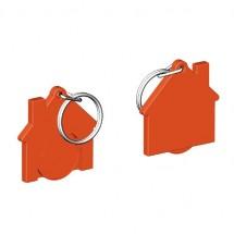 Chiphalter mit 1 Euro-Chip Haus m. Schlüsselring - orange/orange