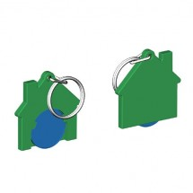Chiphalter mit 1 Euro-Chip Haus m. Schlüsselring - blau/grün