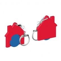 Chiphalter mit 1 Euro-Chip Haus m. Gliederkette - blau/rot