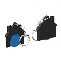 Chiphalter mit 1 Euro-Chip Haus m. Gliederkette - blau/schwarz