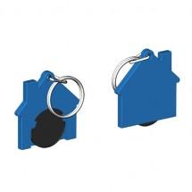Chiphalter mit 1 Euro-Chip Haus m. Schlüsselring - schwarz/blau