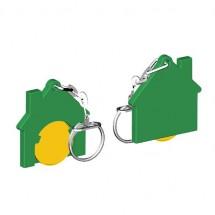 Chiphalter mit 1 Euro-Chip Haus m. Gliederkette - gelb/grün