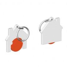 Chiphalter mit 1 Euro-Chip Haus m. Schlüsselring - orange/weiß