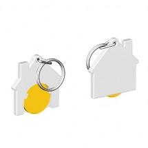 Chiphalter mit 1 Euro-Chip Haus m. Schlüsselring - gelb/weiß