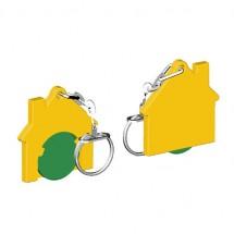 Chiphalter mit 1 Euro-Chip Haus m. Gliederkette - grün/gelb