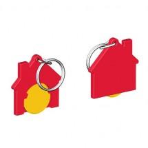 Chiphalter mit 1 Euro-Chip Haus m. Schlüsselring - gelb/rot
