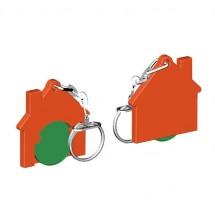 Chiphalter mit 1 Euro-Chip Haus m. Gliederkette - grün/orange