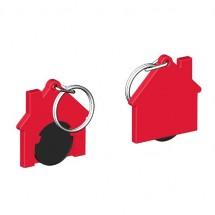 Chiphalter mit 1 Euro-Chip Haus m. Schlüsselring - schwarz/rot