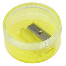 Bleistiftspitzer Runddose - glasklar/gelb-transparent