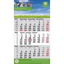1-Block-Wandkalender 2Plus  3-sprachig-schwarz