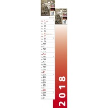 """Streifenkalender """"S-700"""" 70 cm-schwarz /880_ rot"""