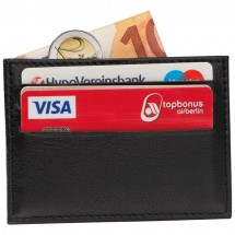 RFID Kreditkartenetui aus Leder - schwarz