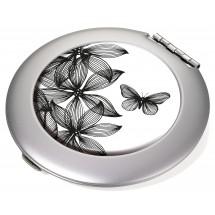 Taschenspiegel Spiegel und Vergrößerungsspiegel BLACK FLOWERS - schwarz, weiß