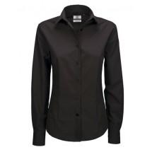 Poplin Shirt Smart Long Sleeve / Women - Black