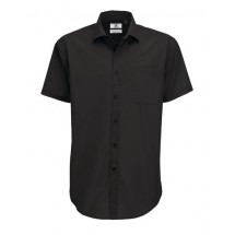 Poplin Shirt Smart Short Sleeve / Men - Black